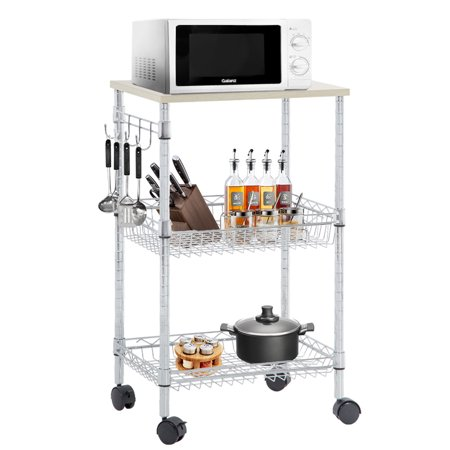 3 Wheeled Car - Heavy Duty Utility Cart Wire 3 Tier Rolling Cart Organizer NSF Kitchen Cart On Wheels Metal Microwave Cart Large With Wire Shelving And Microwave Table Heavy Duty Commercial Grade , Wood/Chrome