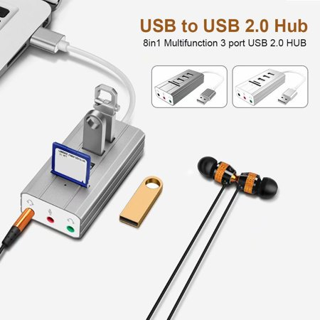 Noroomaknet Lighting Card Reader,USB Hub SD TF Card Reader,8 In 1 Multifunctional 3 Ports USB 2.0 HUB with Female OTG Adapter Cable with 3 Audio Ports for Laptop PC