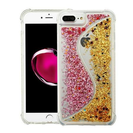 Apple iPhone 6s/6s Plus/7 Plus/8 Plus Case, by Insten Quicksand Glitter Hard Plastic/Soft TPU Rubber Transparent Case Cover For Apple iPhone 6s/6s Plus/7 Plus/8 Plus, Pink/Gold - image 3 de 3