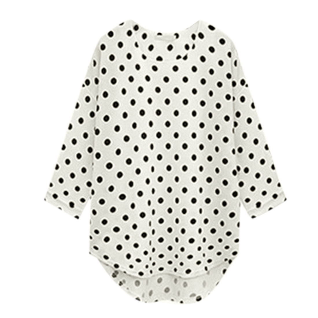 Women Pullover 3/4 Sleeves Dots Pattern High-Low Hem Blouse White XL