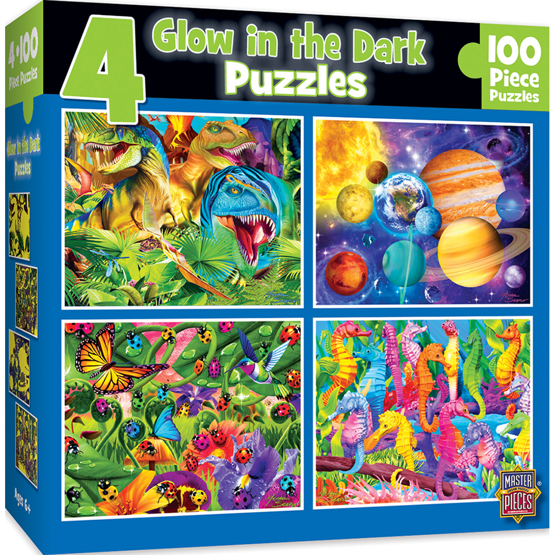 4-pack Glow in the Dark Multipack 100 Piece Puzzles by MasterPieces
