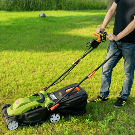 14-Inch 12Amp Lawn Mower w/Folding Handle Electric Push Lawn Corded Mower Green - image 6 of 10