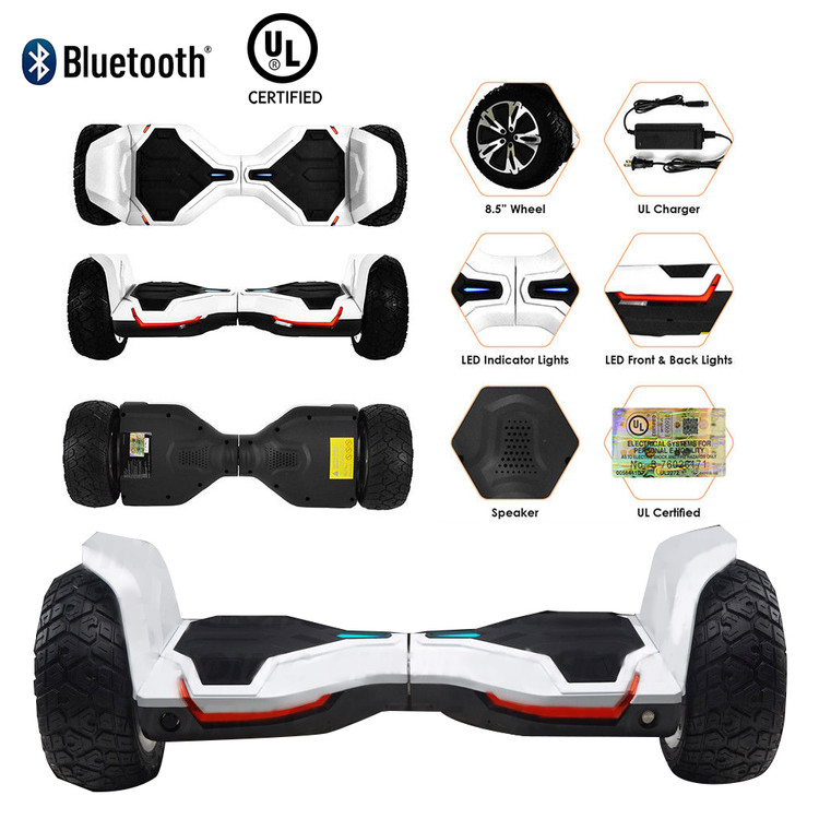 "UL2272 8.5"" Wheel Electric Motorized Scooter Hoverboard Board Bluetooth"