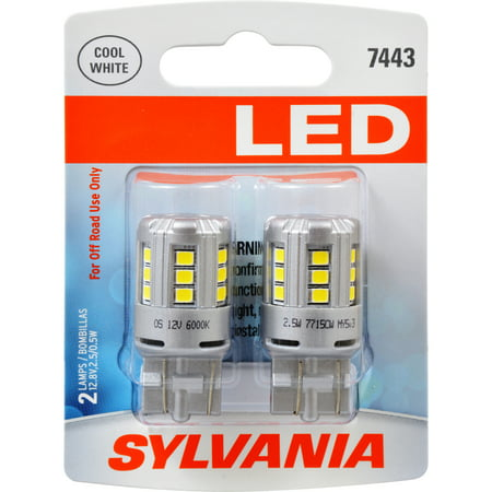 SYLVANIA 7443 WHITE SYL LED Mini Bulb, Pack of (Auto Glass Led)