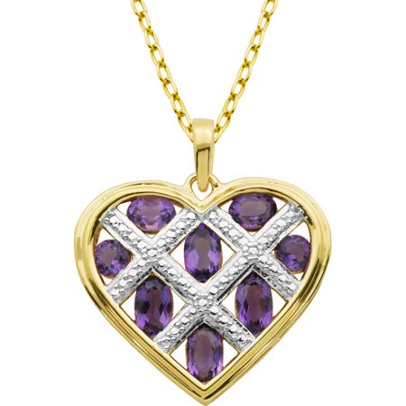 1.03 Carat T.G.W. Genuine African Amethyst 18kt Yellow Gold over Sterling Silver Heart Pendant Necklace on Cable Chain, - Amethyst Yellow Pendant