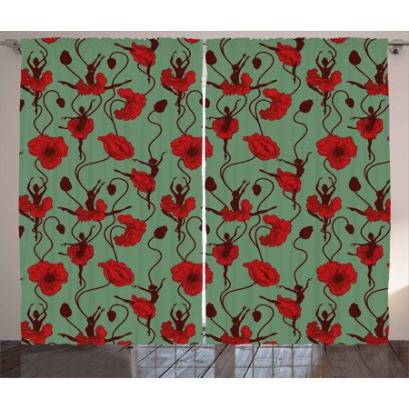 Poppy Curtains 2 Panels Set, Floral Arrangement with Abstract Ballerina Dance Themed Botanical Print, Window Drapes for Living Room Bedroom, 108W X 108L Inches, Green Chesnut Brown Red, by Ambesonne
