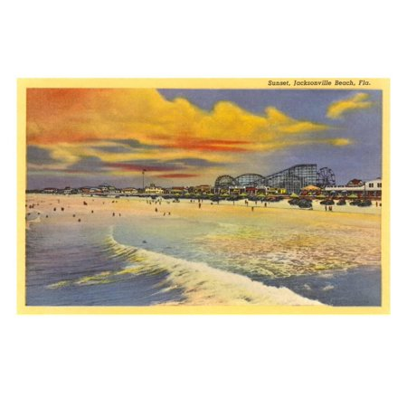 Sunset, Jacksonville Beach, Florida Print Wall Art (Halloween Jacksonville Florida)