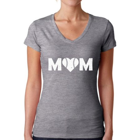 Baseball Mom Shirt (Awkward Styles Women's Baseball Mom Heart V-neck T-shirt White Heart Mother's Day)