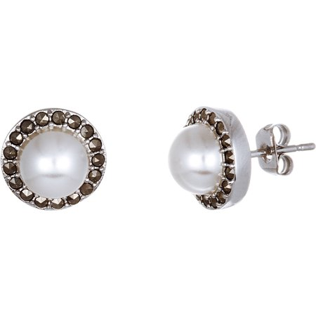 Ss Marcasite Pearl - Lesa Michele Oxidized Round Pearl Marcasite Post Earrings in Sterling Silver