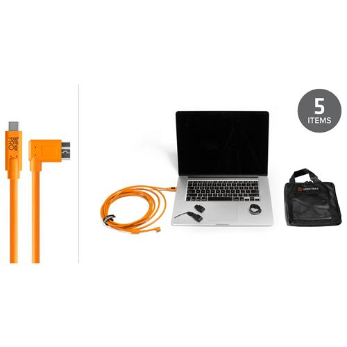 Tether Tools Starter Tethering Kit with 15' USB-C to 3.0 Micro-B Right Angle Cable, Orange
