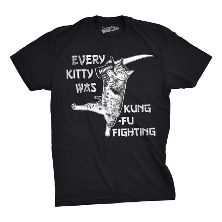 (Crazy Dog T-shirts Mens Every Kitty Was Kung Fu Fighting Funny Kitten Cat Sword Music T shirt)