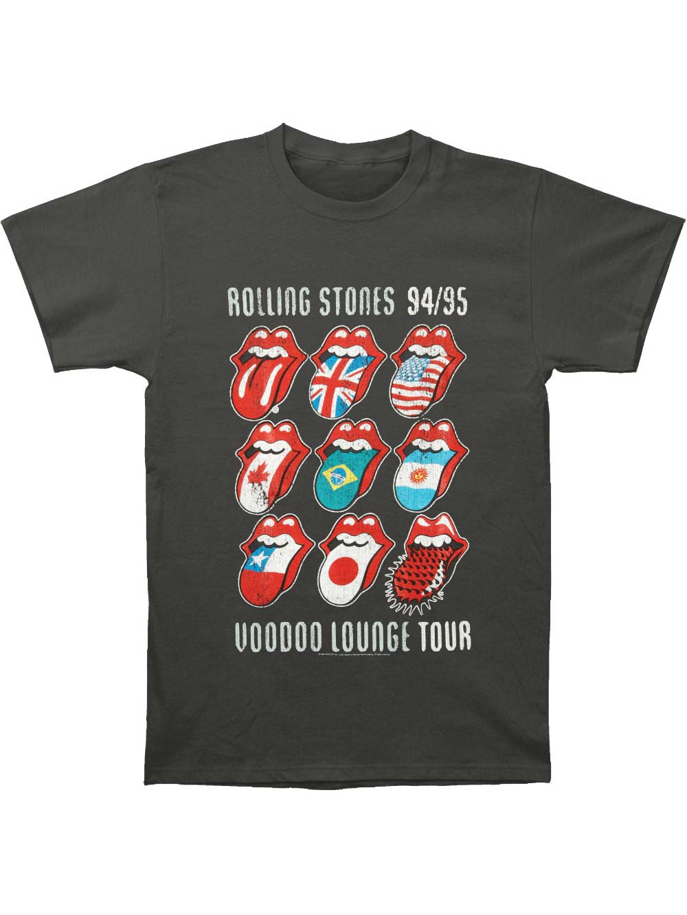 Rolling Stones Tongue 50 Years Anniversary Charcoal Grey T Shirt Adult New