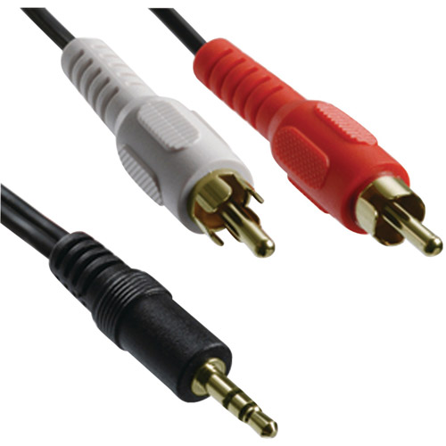 Axis 41360 3.5mm Stereo Plug to 2 RCA Plugs Y-Adapter, 3'