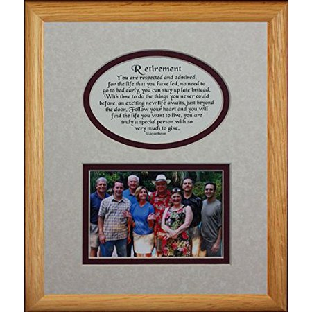 Retirement Night Photo (8X10 Retirement Picture & Poetry Photo Gift Frame ~ Cream/Burgundy Mat ~ Heartfelt Gift Keepsake Frame For A Retirement Party!)