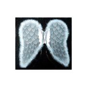 """Mozlly Angel Wings For Adults Garterized Strap 19.75"""" x 20"""" One Size Fits Most Lightweight White Silver & Bright Glitter Heaven Fantasy Cosplay Themed Party Wear Outfit Accessory Costume Accessories"""