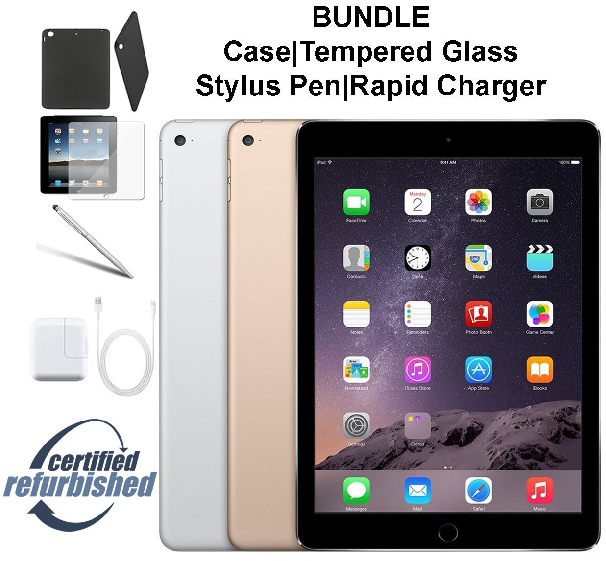 Apple iPad Air 2 64GB Space Gray - WiFi - Bundle - Case, Rapid Charger, Tempered Glass & Stylus Pen ---- FREE 2 Day Shipping (Refurbished )