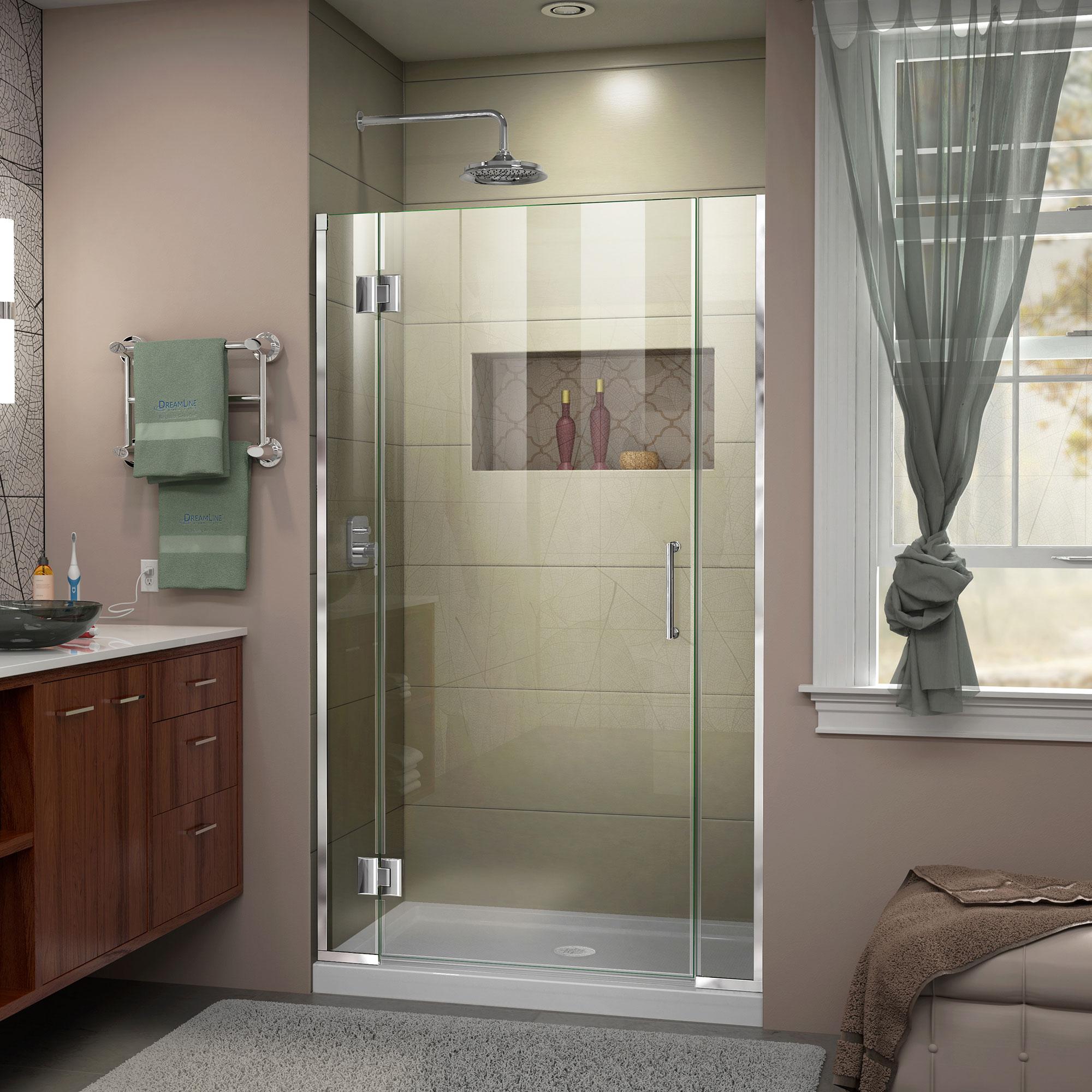 DreamLine Unidoor-X 39-39 1/2 in. W x 72 in. H Frameless Hinged Shower Door in Chrome
