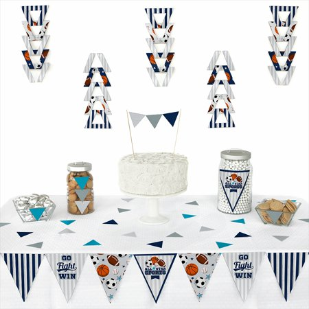 Go, Fight, Win - Sports - Triangle Baby Shower or Birthday Party Decoration Kit - 72 Piece