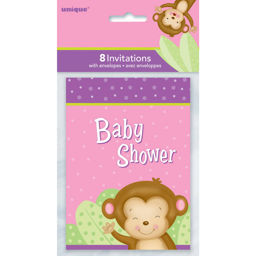 Charming Pink Monkey Baby Shower Invitations, 8 Count