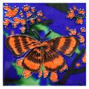 Continental Art Center Art Tile - Orange And Black Butterfly