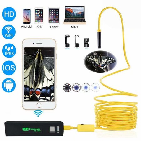 1200P Wireless Inspection WIFI Endoscope IP68 Waterproof 11.5FT High Frame Rate 2.0 MP Snake Multifunctional HD Camera with 8 LED Suitable for Android, IOS Windows, Tablet, Mac