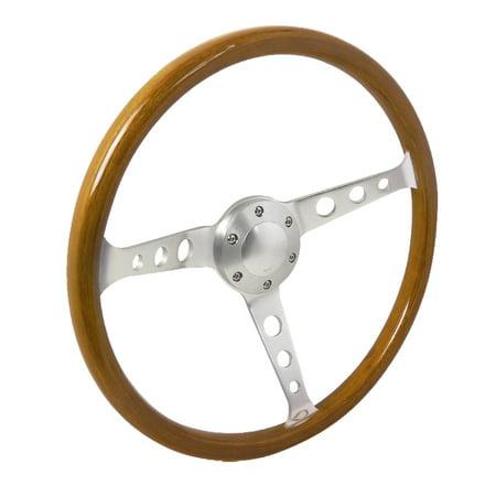 Spec-D Tuning 370Mm Wooden Steering Wheel 50Mm Depth Wood Plastic Composite W Aluminum Spoke Spoke Wood Steering Wheel
