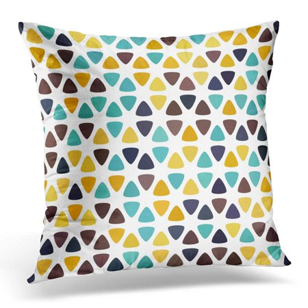 ECCOT Colorful Brown Turquoise Blue Orange Beige Yellow Polka Dot on White Round Triangle Flower Abstract Amber Pillowcase Pillow Cover Cushion Case 20x20 inch