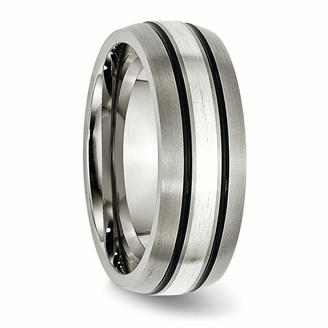 Titanium Grooved 925 Sterling Silver Inlay 8mm Brushed/ Wedding Ring Band Size 9.00 Precious Metal Fine Jewelry Gifts For Women For Her - image 4 de 6