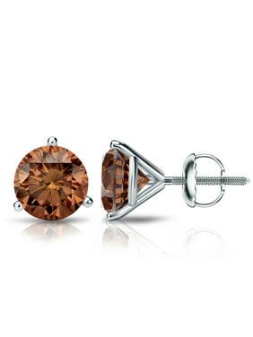 574f7f0ae Product Image 14k Gold Round Brown Diamond Stud Earrings 3-Prong Martini (1/3  cttw. Diamond Wish