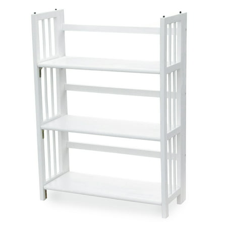 "3-Shelf Folding Stackable Bookcase 27.5"" Wide-White"