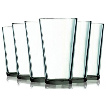 Smoke Grey Mixing Glasses with Beautiful Colored Stem Accent - 16 oz. set of 6- Additional Vibrant Colors Available by TableTop King - Purple Champagne Glasses