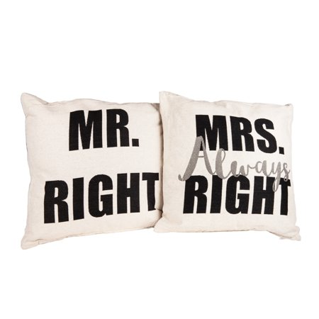 Danya B. Mr. Right and Mrs. Always Right Decorative Quote Accent Throw Pillows – A Unique Couples Gift Idea - Mr And Mrs Pillow