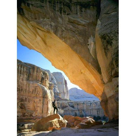Hiker Below Natural Navajo Sandstone Hickman Bridge, Capitol Reef National Park, Utah, Usa Print Wall Art By Scott T. - Navajo Natural