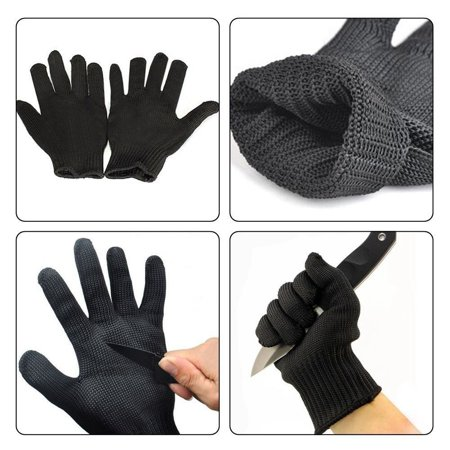 Anti-cutting Gloves, A Pair Black Stainless Steel Wire Cut Resistant Safety Breathable Protective Metal Mesh Work Glove ()