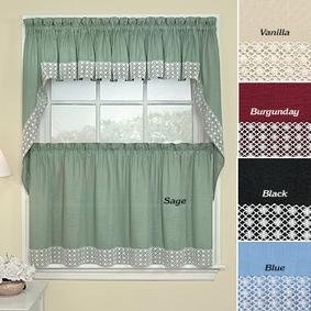 "Window Treatment Lacy Daisy Curtains-black-tier-60"" W X 24"" L by"