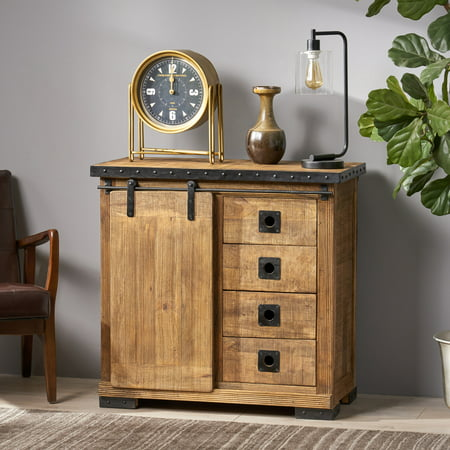 Leila Modern Industrial Mango Wood Cabinet, Natural Finish and Black