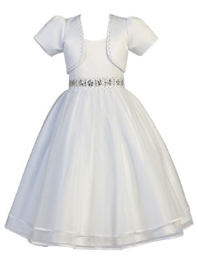 7f82f16b2 Product Image Girls White Satin Organza Beaded Bolero Communion Dress. Sophias  Style