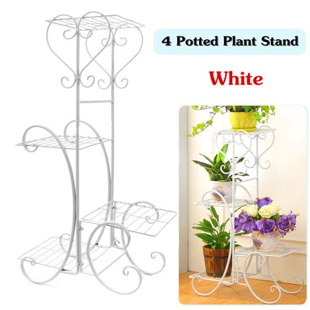 4 Tier Stainless Steel Plant Stand Flower Planter Garden Display Holder Shelf Rack for Home Room Ornaments Indoor Outdoor Patio ()
