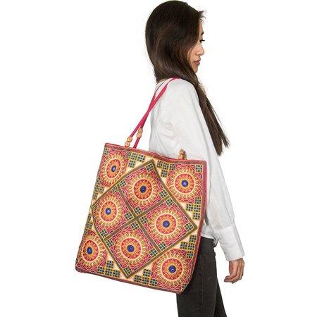 TribeAzure Colorful Embroidered Floral Large Tote Shoulder Bag Comfortable Beach Market Handbag Hippie - Floral Embroidered Tote
