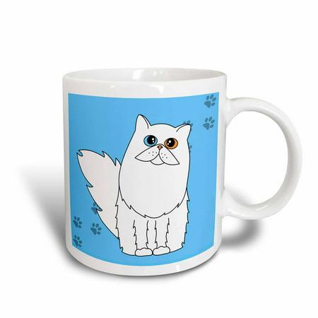 3dRose White Odd Eyed Long-haired / Persian Cat Paw-print, Ceramic Mug,