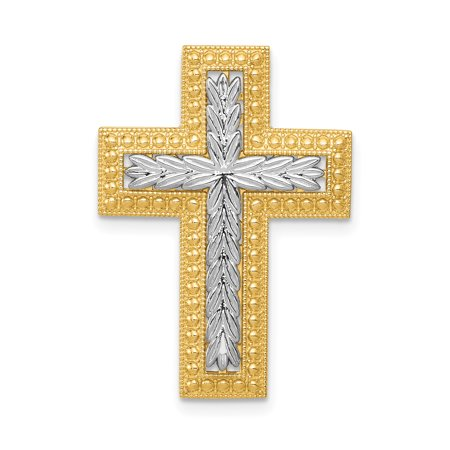 14k Yellow Gold Squared Cross Religious Chain Slide Pendant Charm Necklace