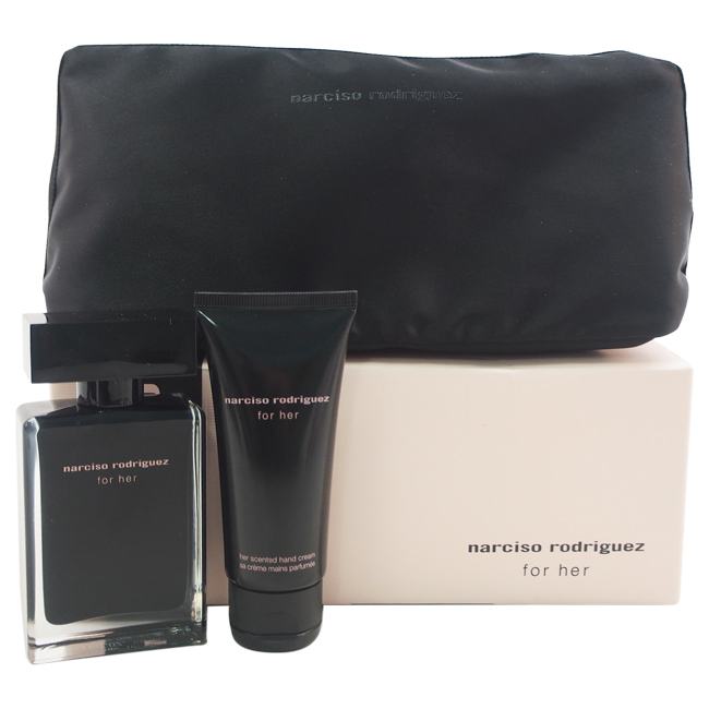 Narciso Rodriguez by Narciso Rodriguez for Women - 3 Pc Gift Set 1.6oz EDT Spray, 1.7oz Hand Cream, Pouch