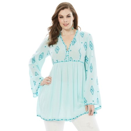610c0dbc278 Roaman s - Plus Size Embroidered Crinkle Tunic With Bell Sleeves -  Walmart.com