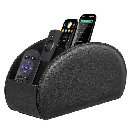Fintie TV Remote Control Holder Desktop Organizer - PU Leather Storage Caddy with 5 Compartments,
