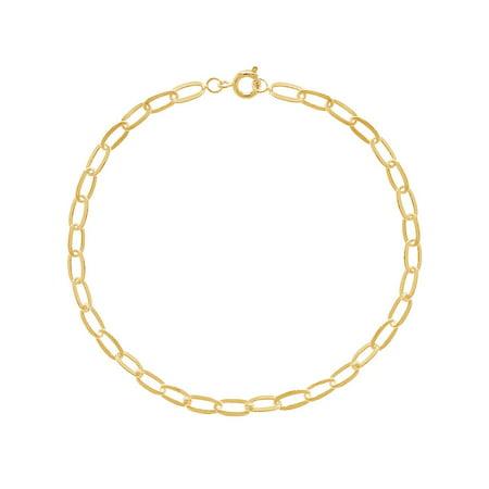18k Gold Plated Plain Chain Link Bracelet Girls Ladies 8.5