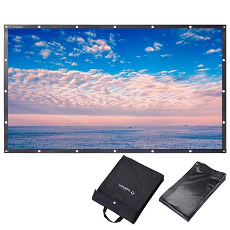 - Instahibit 16:9 Portable Front Projection Screen Foldable PVC 4K HD with Hang Holes Home Theater Movies