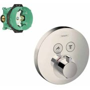 Hansgrohe K15743-01850CR ShowerSelect E Thermostatic Round 2-Function Trim with Rough-In, Various Colors