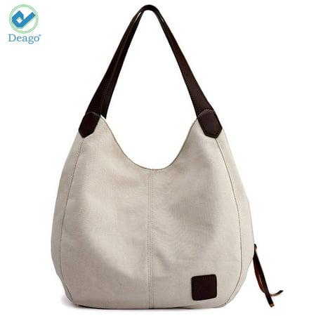 79b12a342ae2 Deago Cotton Canvas Totes Shoulder Bags Purses For Women Large Capacity  Casual Handbags Travel Bag (11.8