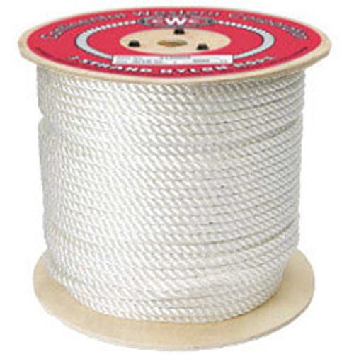 """CWC 3-Strand Nylon Rope - 1/4"""" x 600 ft., White"""