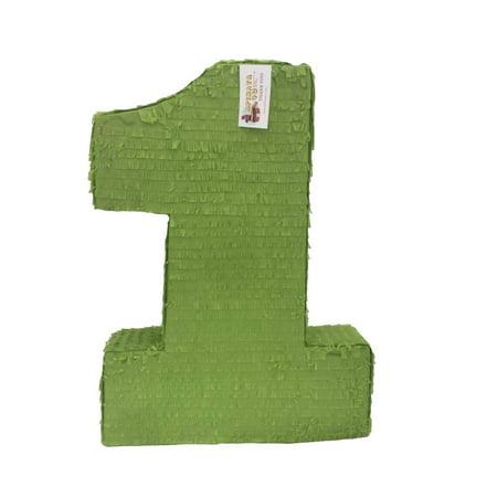 APINATA4U Large Solid Bright Green Number One Pinata 23